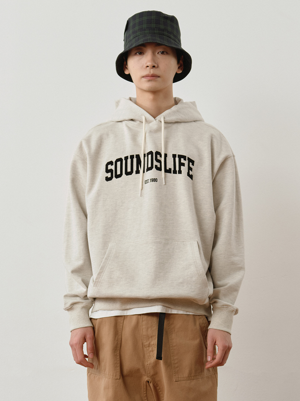 SOUNDSLIFE - Arch Logo Classic Hoodie Oatmeal