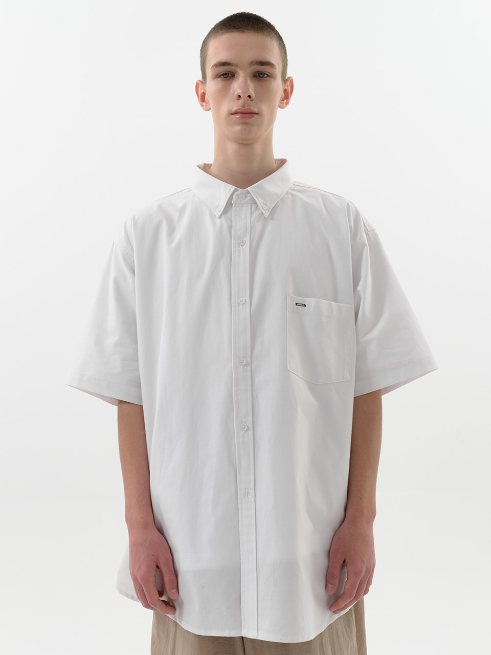 SOUNDSLIFE - [5/12(수) 예약배송] Short Sleeve Shirt Big Boy Fit White