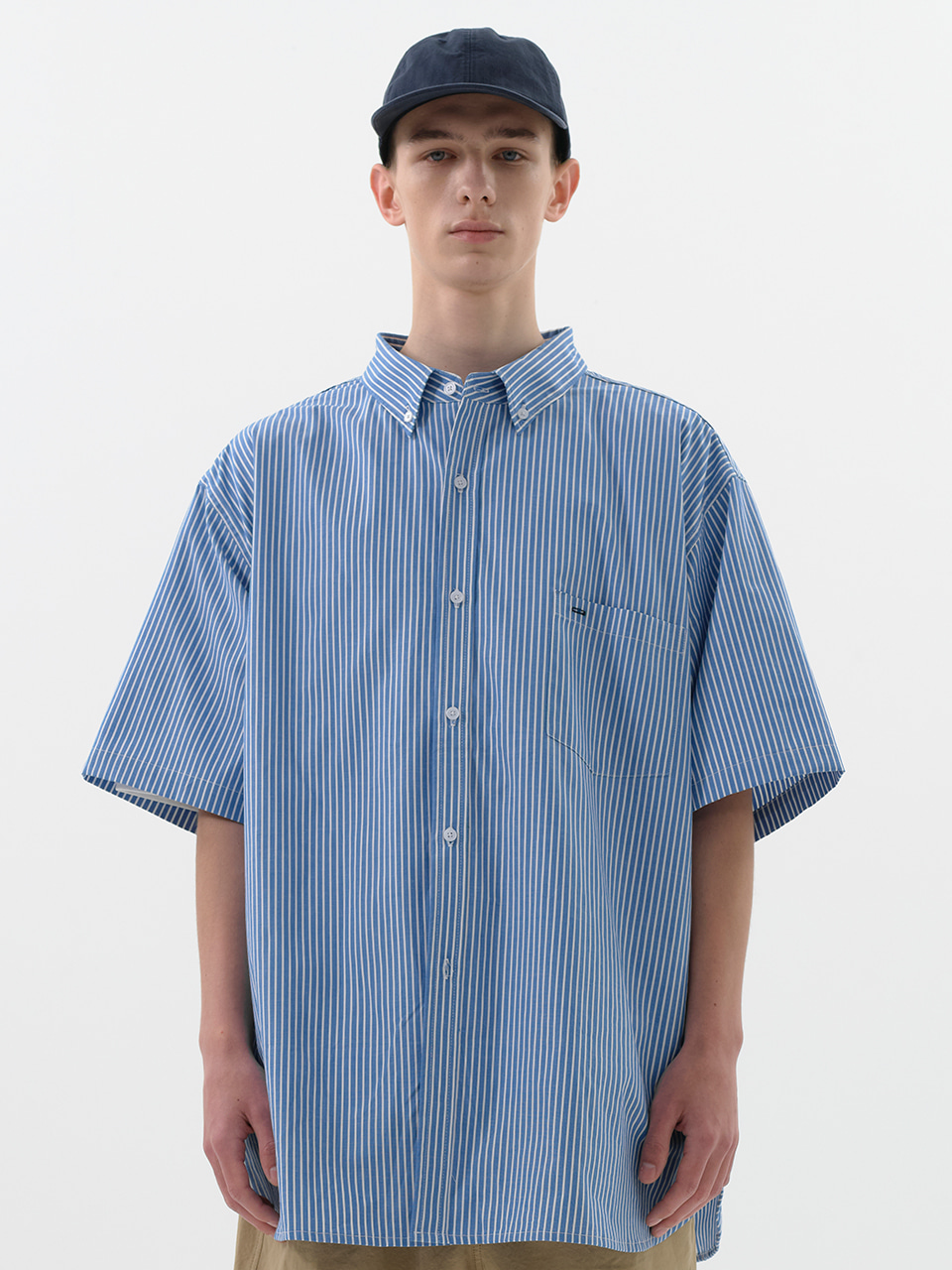 SOUNDSLIFE - [5/12(수) 예약배송] Short Sleeve Shirt Big Boy Fit Blue